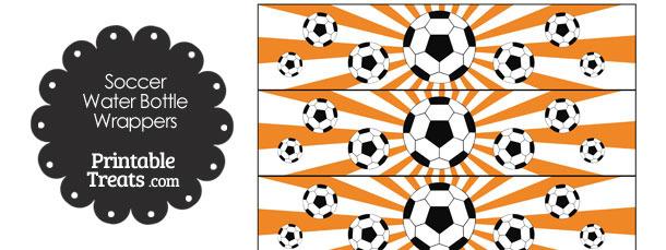 Orange Sunburst Soccer Water Bottle Wrappers