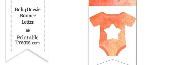 Orange Watercolor Baby Onesie Bunting Banner Star End Flag