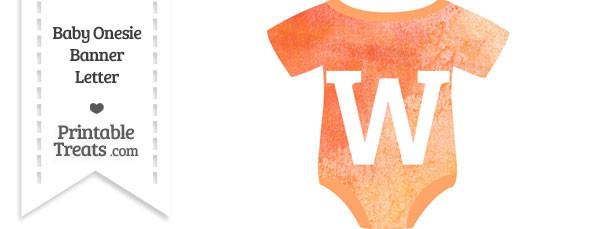 Orange Watercolor Baby Onesie Shaped Banner Letter W