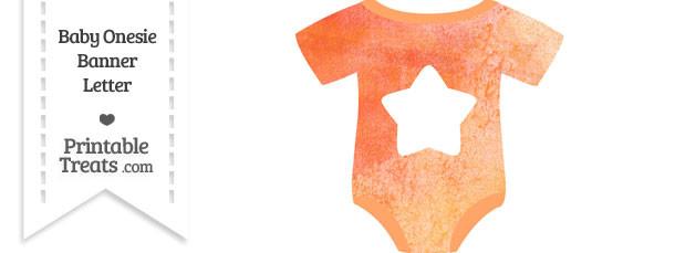 Orange Watercolor Baby Onesie Shaped Banner Star End Flag
