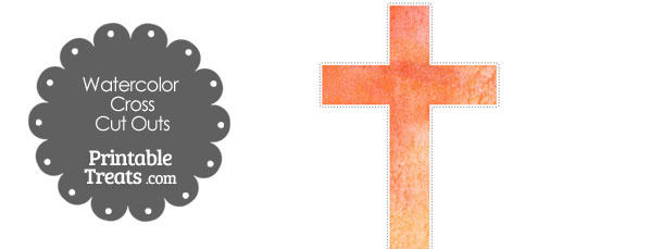 Orange Watercolor Cross Cut Outs