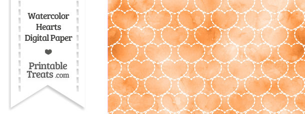 Orange Watercolor Hearts Digital Scrapbook Paper