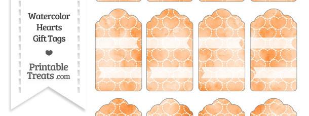 Orange Watercolor Hearts Gift Tags