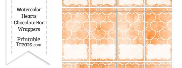 Orange Watercolor Hearts Mini Chocolate Bar Wrappers
