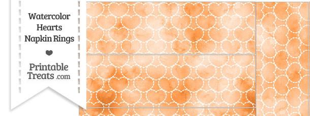 Orange Watercolor Hearts Napkin Rings