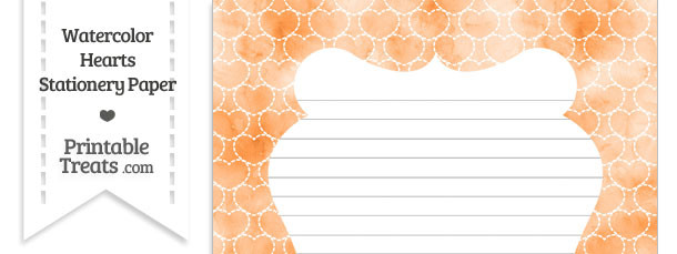 Orange Watercolor Hearts Stationery Paper