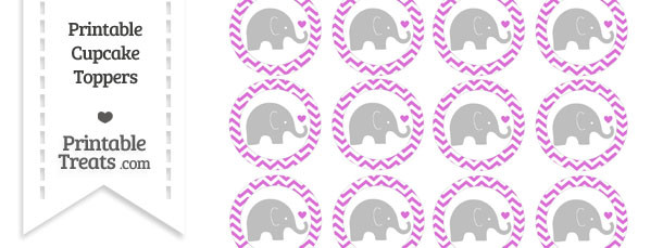 Orchid Chevron Baby Elephant Cupcake Toppers