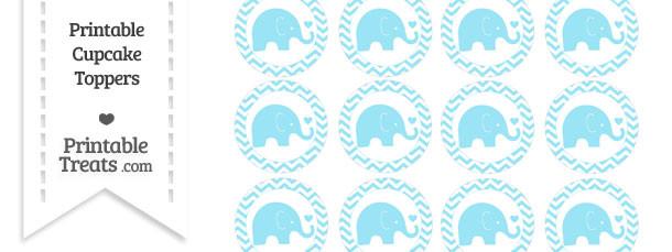 Pastel Aqua Blue Baby Elephant Chevron Cupcake Toppers