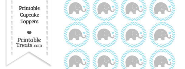 Pastel Aqua Blue Chevron Baby Elephant Cupcake Toppers