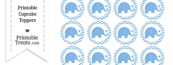 Pastel Blue Baby Elephant Chevron Cupcake Toppers