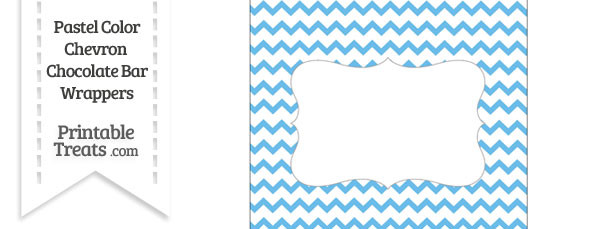 Pastel Blue Chevron Chocolate Bar Wrappers