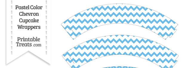 Pastel Blue Chevron Cupcake Wrappers
