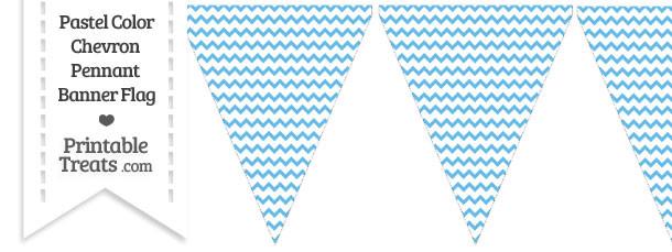 Pastel Blue Chevron Pennant Banner Flag