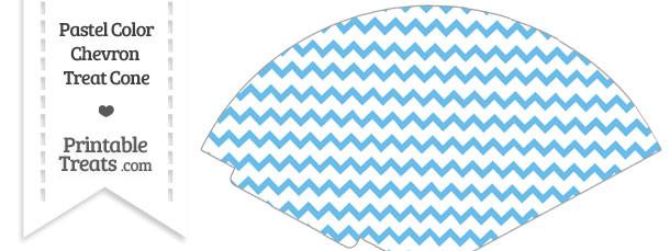 Pastel Blue Chevron Treat Cone
