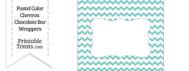 Pastel Blue Green Chevron Chocolate Bar Wrappers