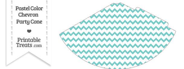 Pastel Blue Green Chevron Party Cone