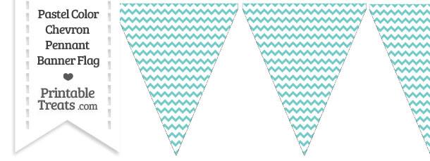 Pastel Blue Green Chevron Pennant Banner Flag