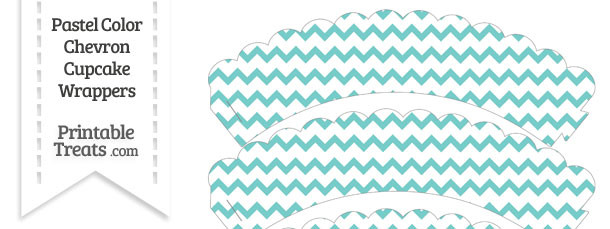 Pastel Blue Green Chevron Scalloped Cupcake Wrappers