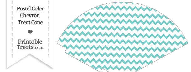 Pastel Blue Green Chevron Treat Cone