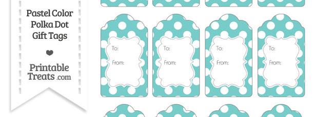 Pastel Blue Green Polka Dot Gift Tags