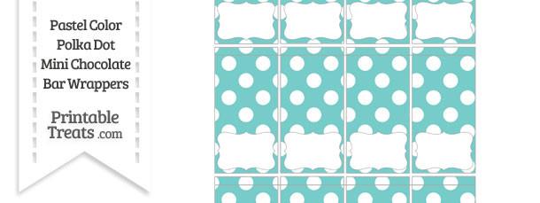 Pastel Blue Green Polka Dot Mini Chocolate Bar Wrappers
