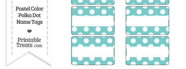 Pastel Blue Green Polka Dot Name Tags