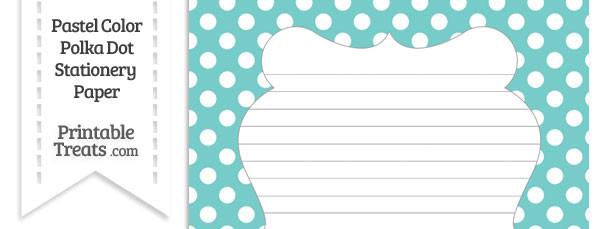 Pastel Blue Green Polka Dot Stationery Paper