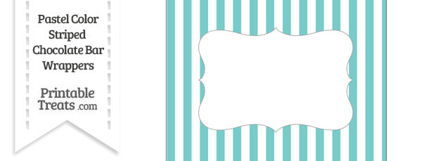 Pastel Blue Green Striped Chocolate Bar Wrappers