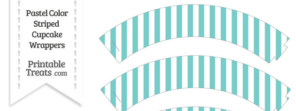 Pastel Blue Green Striped Cupcake Wrappers