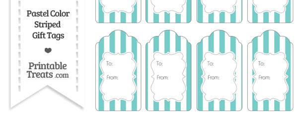 Pastel Blue Green Striped Gift Tags