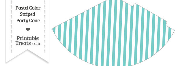 Pastel Blue Green Striped Party Cone