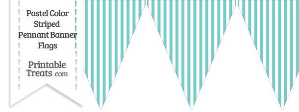 Pastel Blue Green Striped Pennant Banner Flag