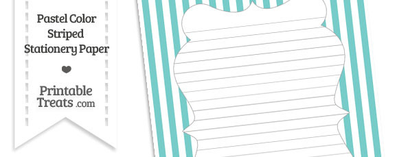 Pastel Blue Green Striped Stationery Paper