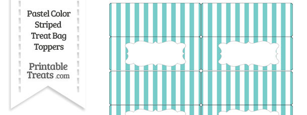 Pastel Blue Green Striped Treat Bag Toppers