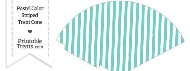 Pastel Blue Green Striped Treat Cone