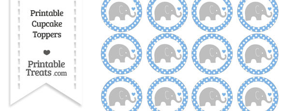 Pastel Blue Polka Dot Baby Elephant Cupcake Toppers