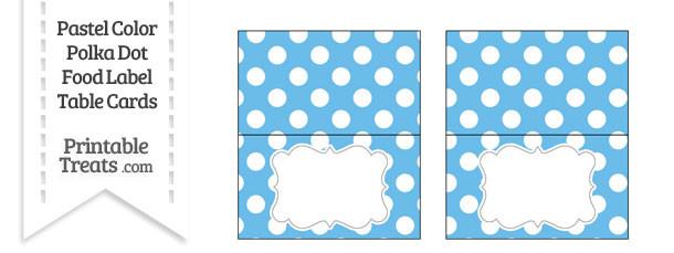 Pastel Blue Polka Dot Food Labels