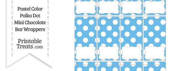 Pastel Blue Polka Dot Mini Chocolate Bar Wrappers