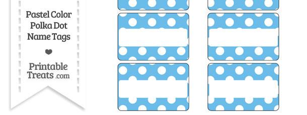 Pastel Blue Polka Dot Name Tags