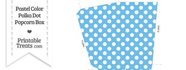 Pastel Blue Polka Dot Popcorn Box