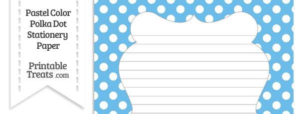 Pastel Blue Polka Dot Stationery Paper