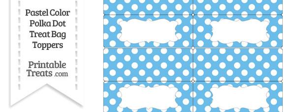 Pastel Blue Polka Dot Treat Bag Toppers