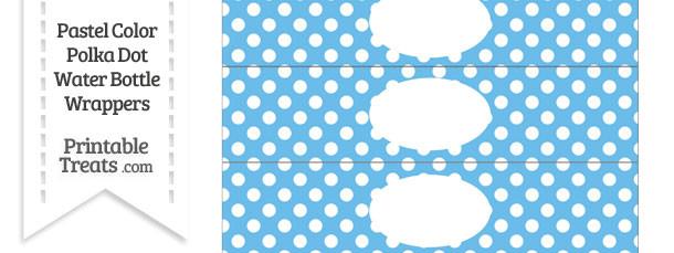 Pastel Blue Polka Dot Water Bottle Wrappers