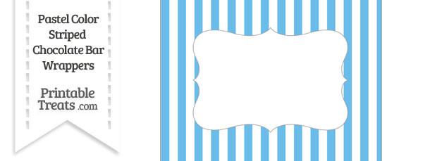 Pastel Blue Striped Chocolate Bar Wrappers