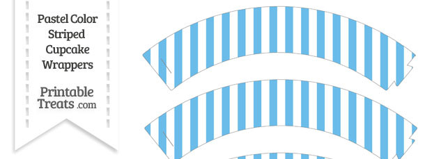 Pastel Blue Striped Cupcake Wrappers