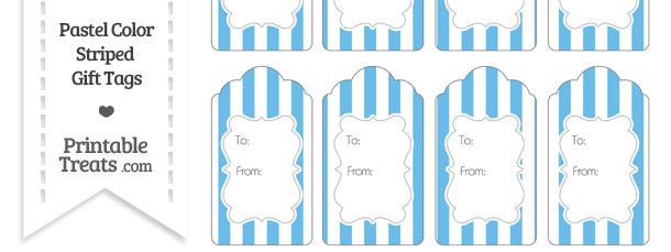 Pastel Blue Striped Gift Tags