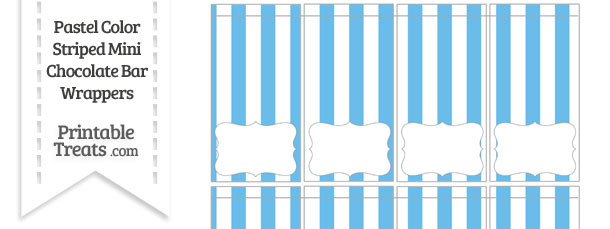 Pastel Blue Striped Mini Chocolate Bar Wrappers