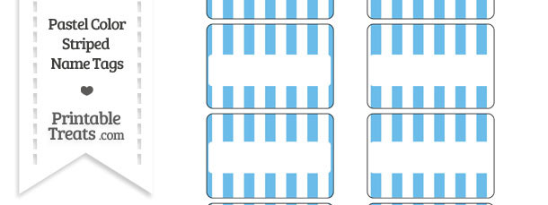 Pastel Blue Striped Name Tags
