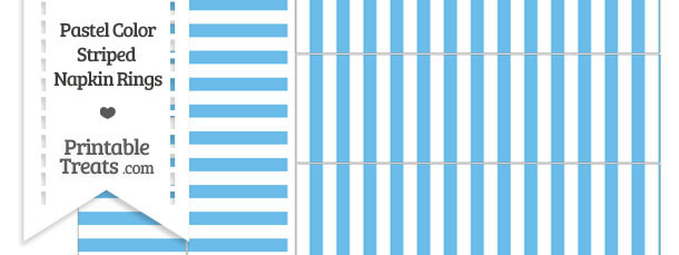 Pastel Blue Striped Napkin Rings