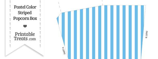 Pastel Blue Striped Popcorn Box